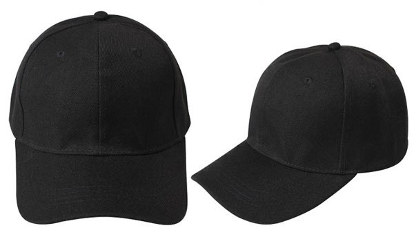 Black, 6 panel baseball caps