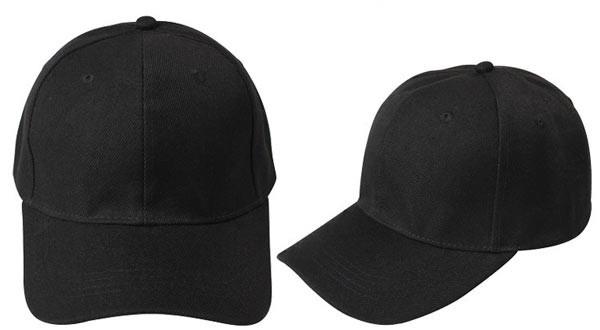 Black, 6 panel baseball caps