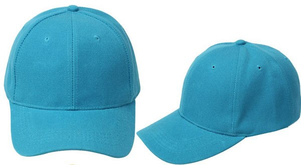 Lake blue, 6 panel baseball caps