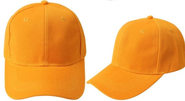 Yellow, 6 panel baseball caps