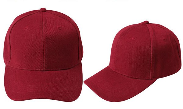 Bordeaux red, 6 panel baseball caps