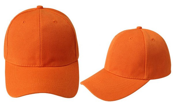 Orange, 6 panel baseball caps