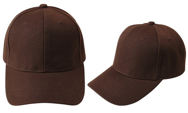 Brown, 6 panel baseball caps