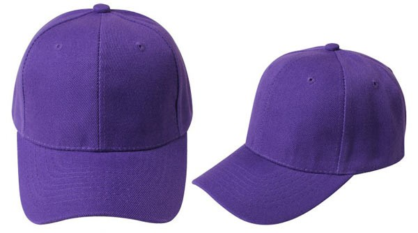 Purple, 6 panel baseball caps