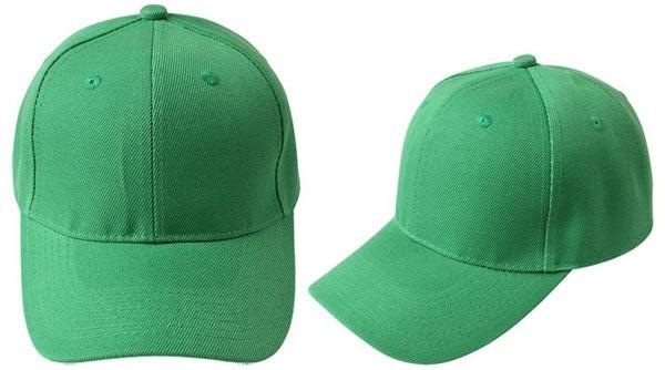 Green, 6 panel baseball caps