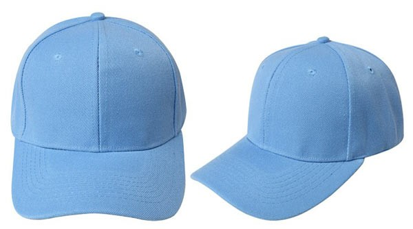 Sky blue, 6 panel baseball caps
