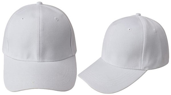 White, 6 panel baseball caps
