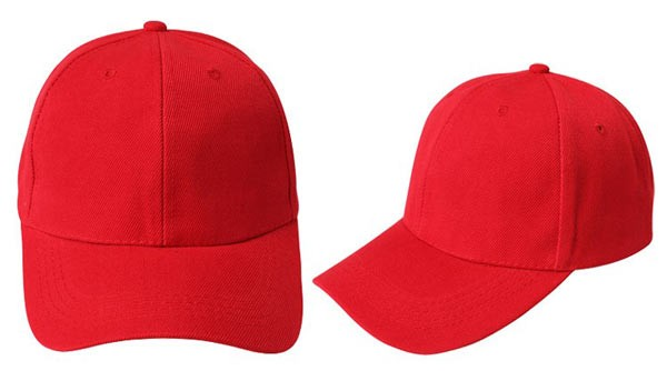 Red, 6 panel baseball caps