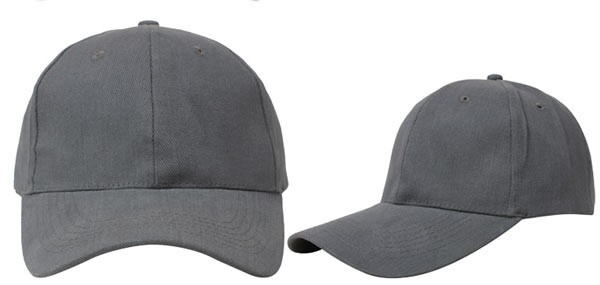 Gray, 6 panel baseball caps
