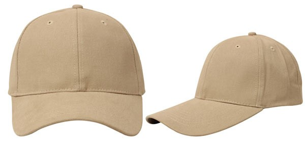 Khaki, 6 panel baseball caps