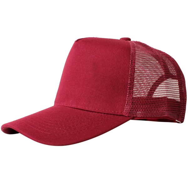 Truck caps, 5 panels, bordeaux red