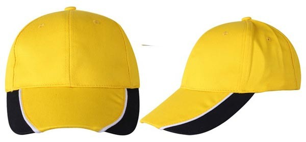 Baseball caps, 6 panels,  yellow, black, white combination