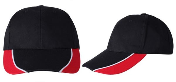 Baseball caps, 6 panels,  zwart, rood, wit combinatie