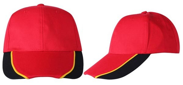 Baseball caps, 6 panels,  red, black, yellow combination
