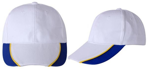 Baseball caps, 6 panels,  white, blue, yellow combination
